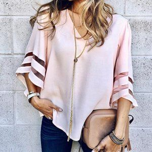 Pink (light) blouse loose fitting
